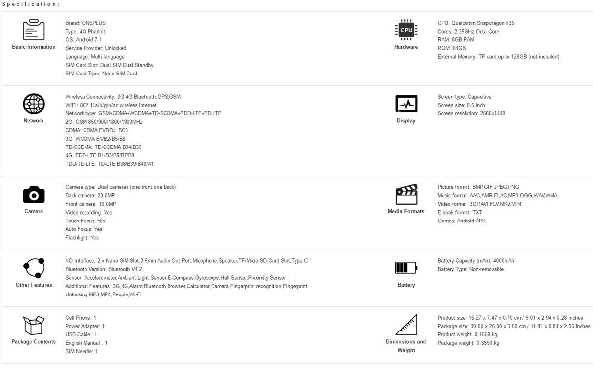 OnePlus 5 Specs Sheet