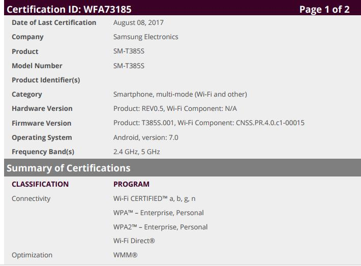 SM-T385S WiFi certificate