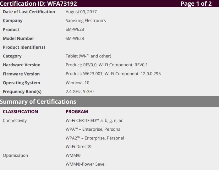 SM-W623 WiFI certificate